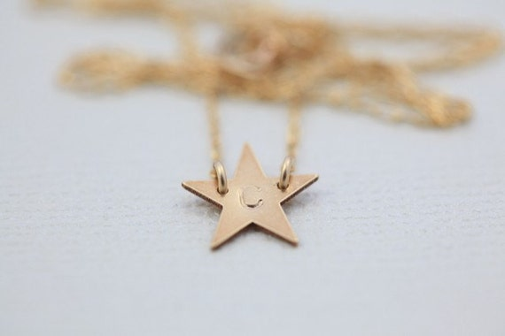 Gold filled Initial small Star necklace by hand stamp - Made to order