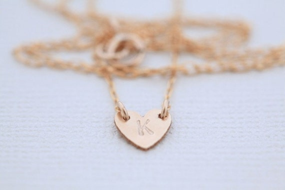 Gold filled tiny initial heart necklace (Made to order)