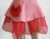 Vintage 50s Apron // Red Valentine Heart Gingham Check Cotton & Organza Apron