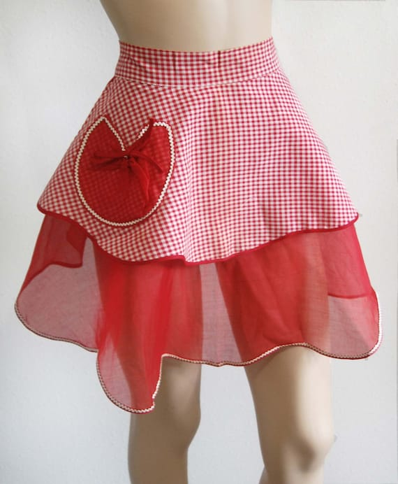 Vintage 50s Apron // Red Valentine Heart Gingham Check Cotton & Organza Apron