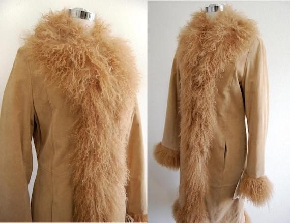 Vintage Bohemian Princess Genuine Suede & Mongolian Lamb Fur Coat by Marvin Richards Original Tags