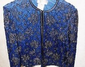 Vintage 80's Blue Beaded Silk Jacket