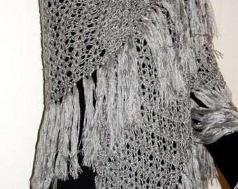 Hand Crocheted Light Silver Gray Shawl Wrap