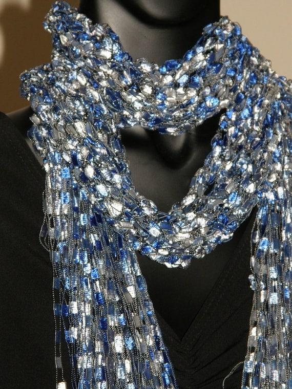 blue fancy ribbon scarf crocheted blue silver