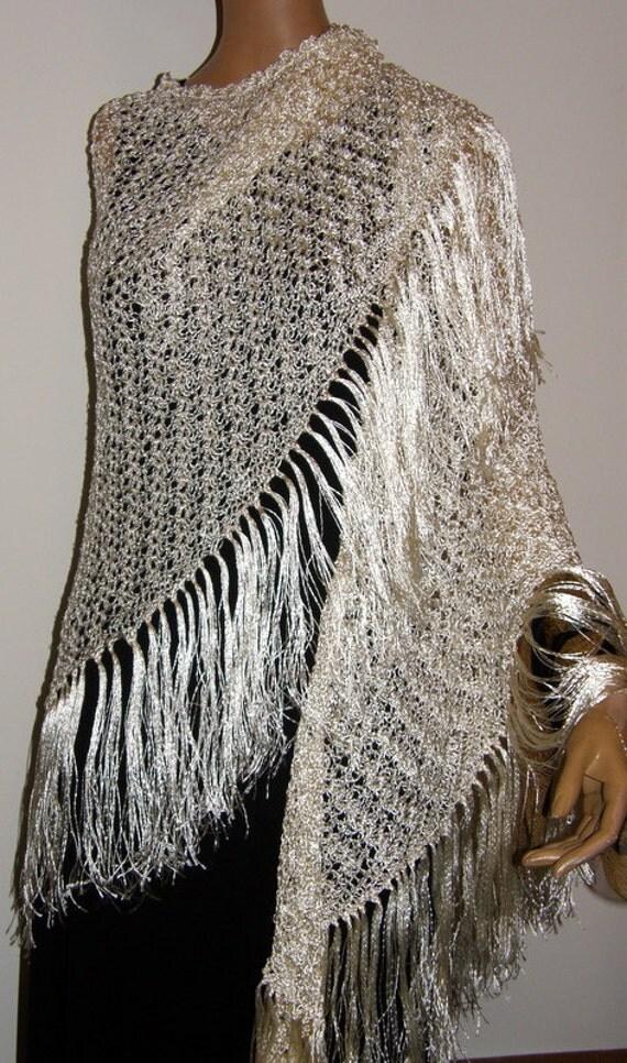Wedding Shawl  triangle shawl Light Ivory White Silky Shawl Wrap Antique Yarn Hand Crocheted
