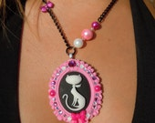 SALE and 100% DONATION to AHA // Retro Kitty Cameo Necklace - Fancy Pink