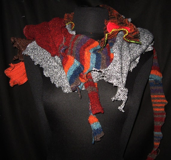Funky Chunky scarf in brown cranberry grey tweed Upcycled one size fits all