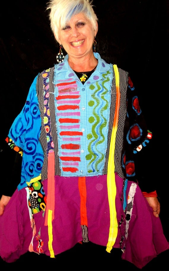Funky Collage hand painted over sized Tunic Multi Color