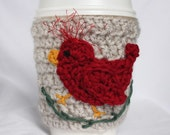 Red Bird travel mug cup cozy coffee crochet