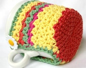 Mug Cozy, Cup Cosy and Coaster Crochet Brights with Daisy Button