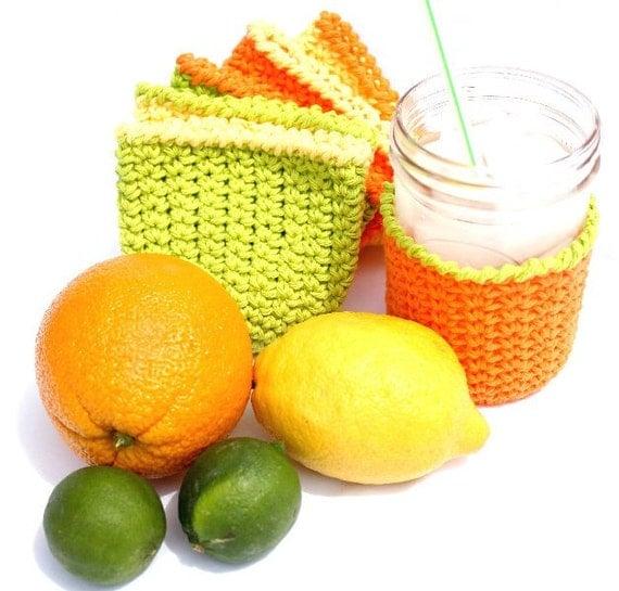 Mason Jar Cozy Coasters set of six citrus colors