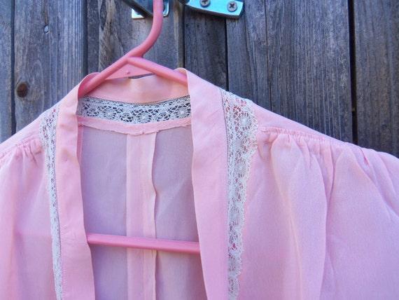 Vintage Lingerie, Pink Silk, Bed Jacket, Retro Lingerie