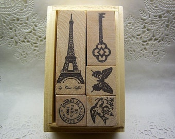 PARIS craft stamps in a box (set of 5)