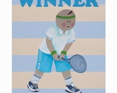 Tennis print, Tennis poster, Tennis gifts, Baby boy sports nursery, Baby boy room decor, Nursery art boy, Tennis coach, Coach gift idea