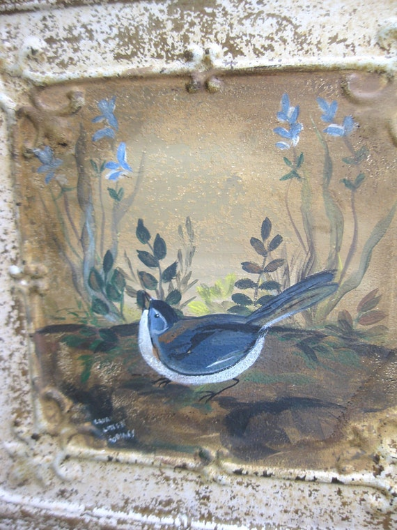 Antique chippy shabby ceiling tin tile with handpainted songbird with summer meadow flowers