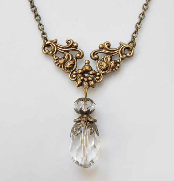 RESERVED FOR KELLY Clear Crystal Filigree Necklace, Ice Glass Briolette Teardrop, Antique Brass Chain, Victorian Style Bridal Jewelry