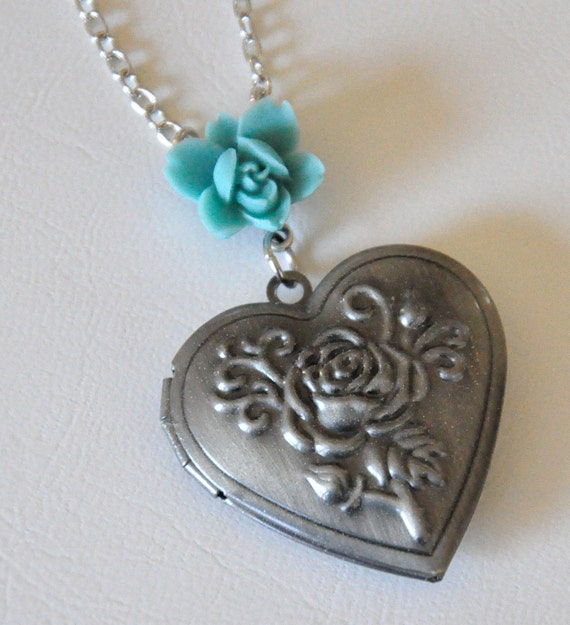 Silver Rose Heart Locket Necklace, Teal Blue Lotus Flower Necklace, Embossed Flower Locket, Antique Silver Sweetheart Locket Necklace