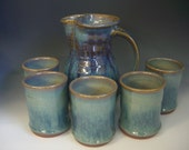 Hand thrown stoneware pottery margarita server set of 6