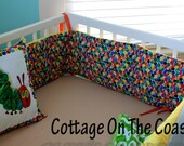 Custom Bumper Pad- Made with Very Hungry Caterpillar Fabric- Abstract Dots and Yellow Stripes- MADE TO ORDER