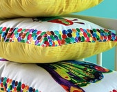 Nursery Decorations- Caterpillar, Leaf, and Butterfly...3 Piece Pillow Set with Yellow Backing-Made to Order