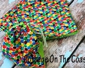 SET OF 10--Party Favor Bags ...Dots Fabric-Drawstring  Bag/Birthday Party Favor--Made to Order--