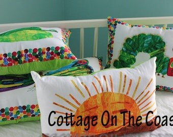 Pillows..Made With Very Hungry Caterpillar Fabric-Pillow Set (Set of 4) --Made to Order--