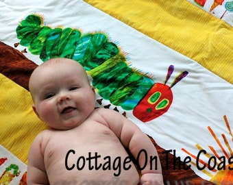 Quilt...Made from Very Hungry Caterpillar Fabric.....But He Was Still Hungry...Baby/Toddler Play Quilt---Made to Order---