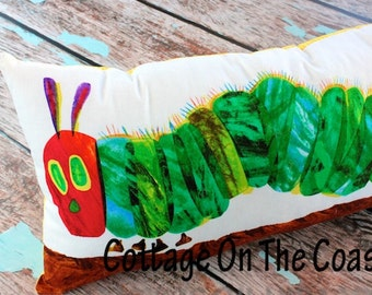 Single Pillow--Made With Very Hungry Caterpillar Fabric...Yellow Stripes --Made to Order--
