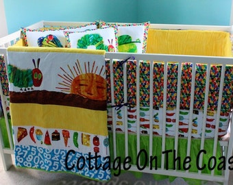 Custom 5 Piece Crib Set- Made From Very Hungry Caterpillar Fabric- Bumper, Quilt, Crib Skirt and 3 Piece Pillow Set- MADE TO ORDER