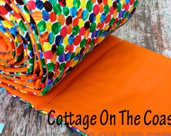 Bright Orange Bumper Pad- Made From Very Hungry Caterpillar Fabric- Custom Bumper Pad- MADE TO ORDER