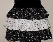 Plus size tiered paint splatter print skirt