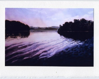Lake Reflections, blank card with photo image watercolor 5 x 7