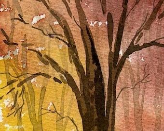 Original watercolor, Autumn Tree, 8 x 10 matted