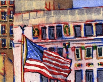 Houston Flag ACEO watercolor