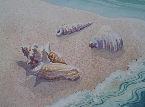 Original watercolor, Shells on the Beach, 11 x 15