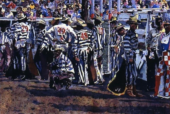 Texas Prison Rodeo, blank card, photocard w/ envelope 5 x 7