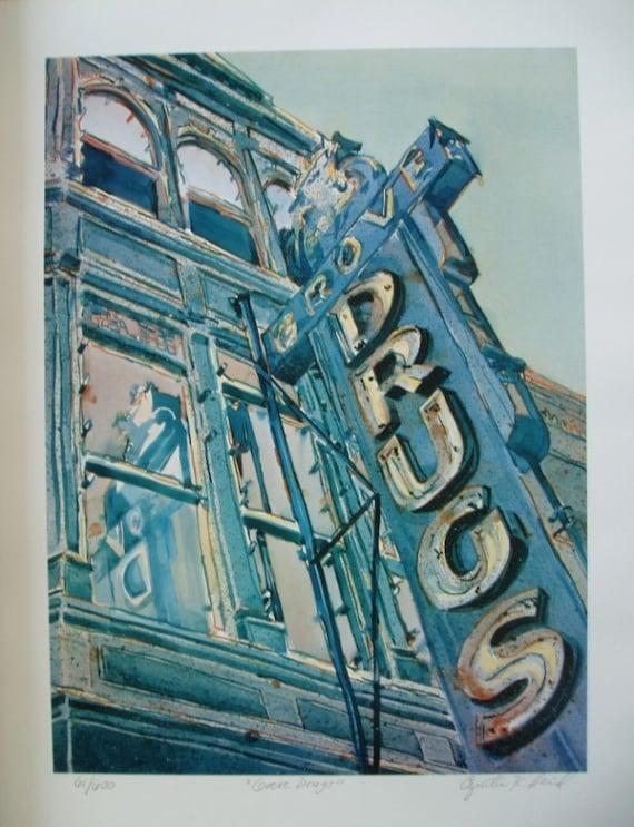 Austin Texas Grove Drugs, Limited edition print