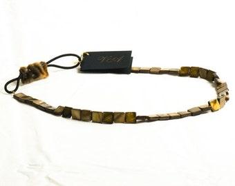 Brown Shell Headband, Brown Headband, Womens Headband, Stretchy Gemstone Headband, Brown Gemstone, Natural Shell, Elastic Headband