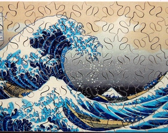 Hand Cut Wooden Katsushika Hokusai Jigsaw Puzzle - The Great Wave off Kanagawa - (59 pieces) with Plywood Storage Box --  FREE US SHIPPING