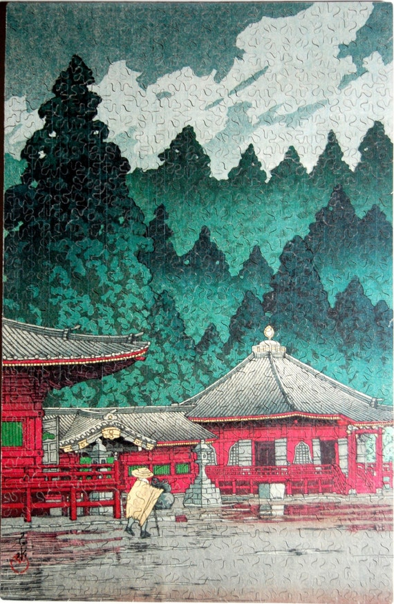 Hand Cut Wooden Japanese Woodblock Jigsaw Puzzle (488 pieces) with Plywood Storage Box