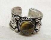 Tibetan dorje tigers eye gemstone ring - adj size