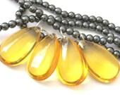 Large teardrop shape Glass beads -  set of 4 beads