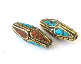 Beautiful  Nepalese Beads - 2 beads-BD028