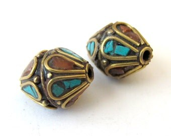 Thick focal nepal brass bead - BD038 - 1 bead