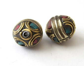 Nepal oval shape brass beads - 2 beads-BD050