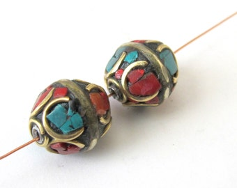 Nepal beads- brass with turquoise coral inlay - 1 bead - BD063