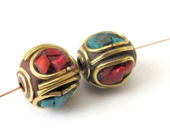 2 Beads - Nepal Beads  brass with turquoise and coral inlay - 2 beads - BD066