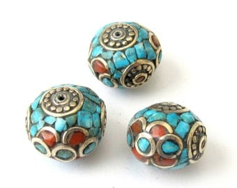 Nepalese oval shaped focal  brass beads -  2  beads - BD078