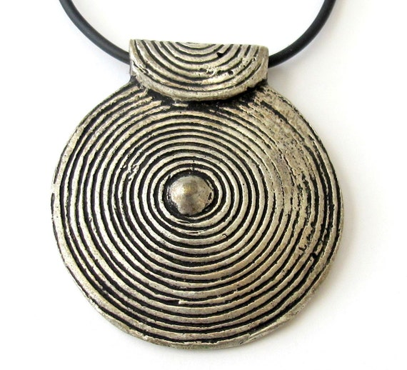 Large Tribal spiral  shape metal pendant  from Nepal