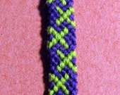 Purple and Green X Friendship Bracelet